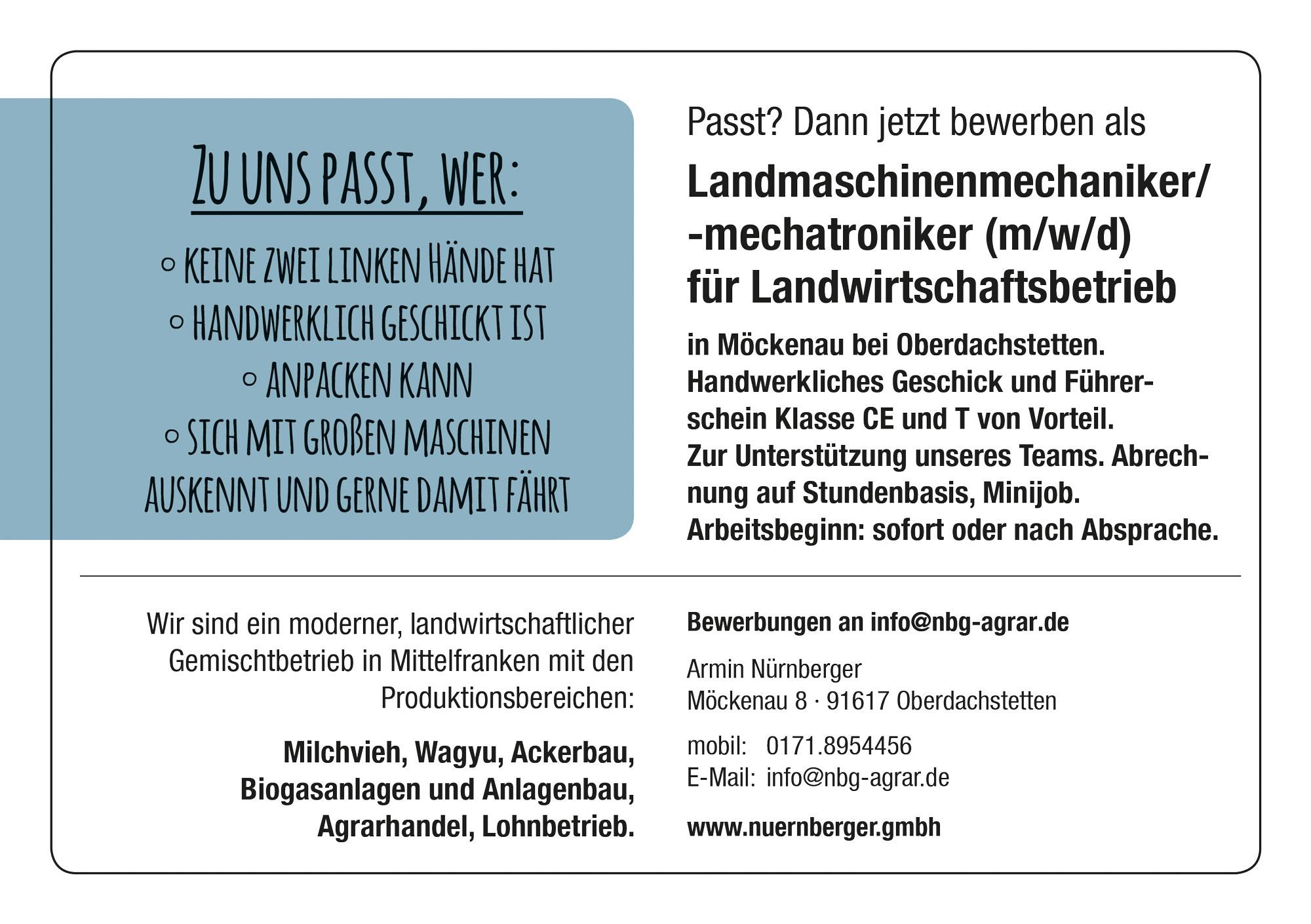 Stellenausschreibung, Ausbildung zum Landwirt bei Armin Nürnberger in Möckenau, Jobs und Karriere