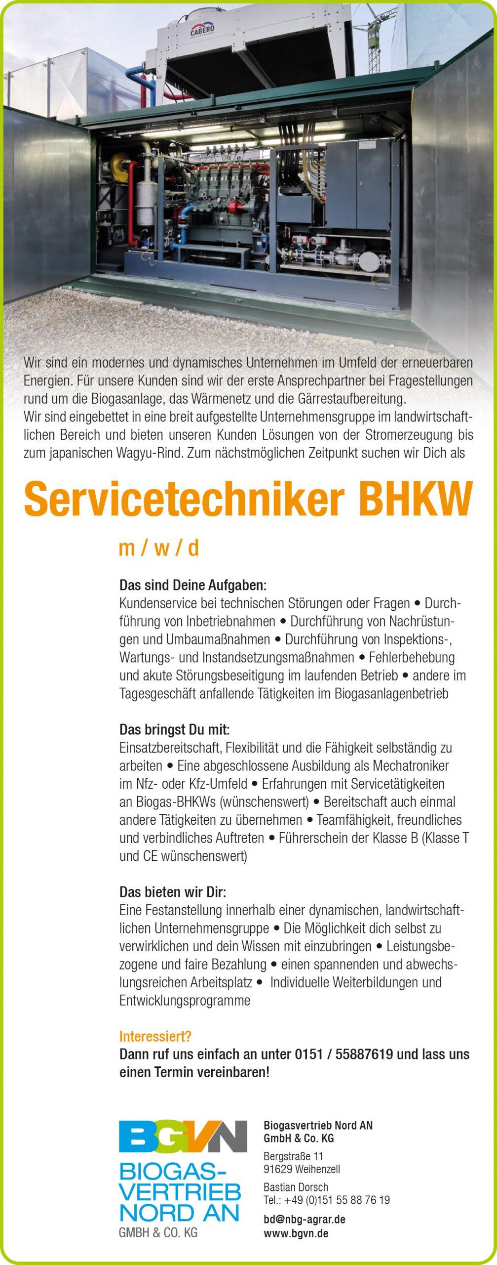 Stellenanzeige Biogasvertrieb Nord AN GmbH & CO. KG, Servicetechniker BHKW m/w/d