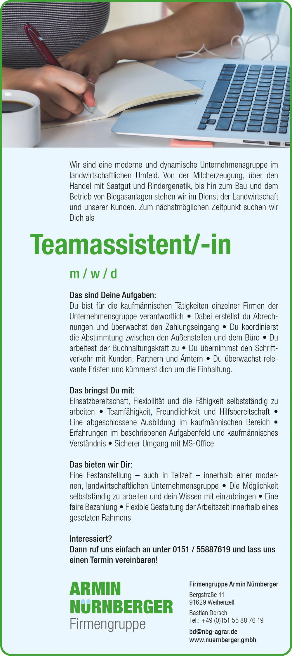 Stellenanzeige Firmengruppe Armin Nürnberger, Teamassistent m/w/d