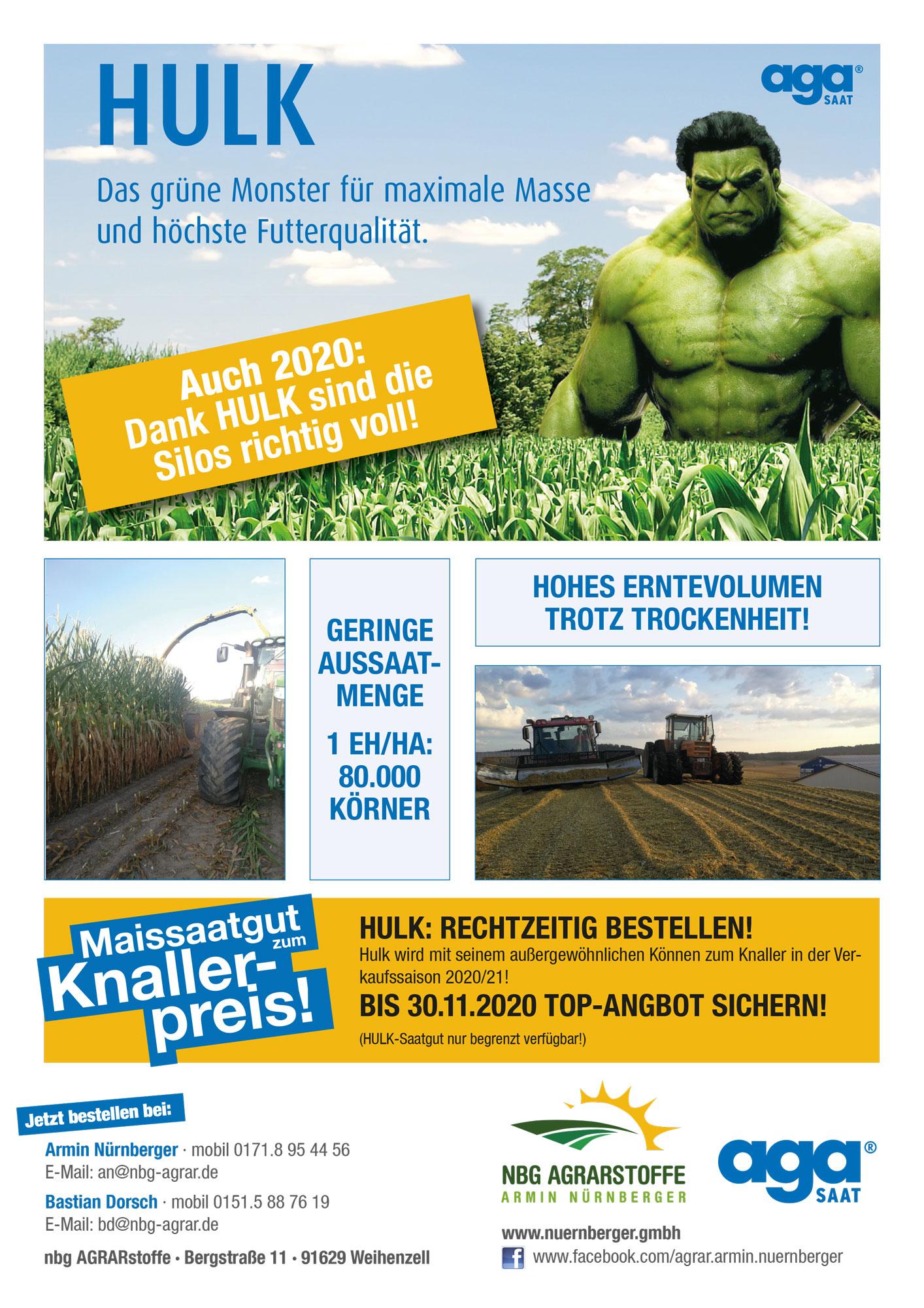 Maissaatgut HULK von agaSAAT, Vertrieb durch nbg AGRARstoffe